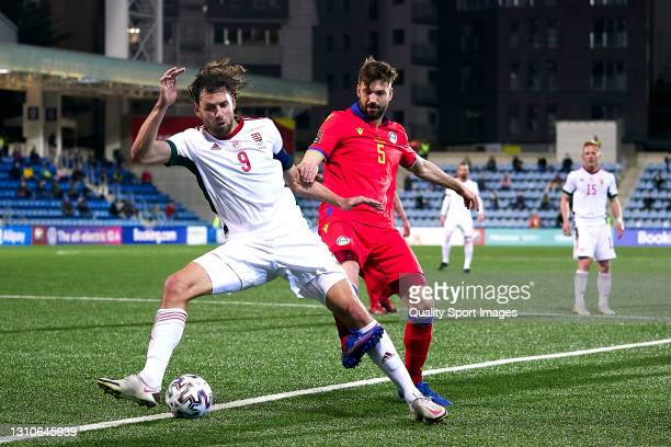 Emili Garcia of Andorra competes for the ball with Adam Szalai of Hungary during the FIFA World Cup 2022 Qatar qualifying Group I match between...