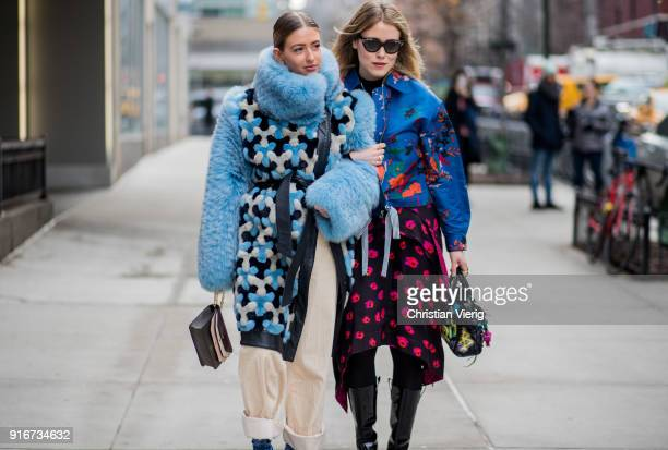 Emili Sindlev and Annabel Rosendahl seen outside SelfPortrait on February 10 2018 in New York City