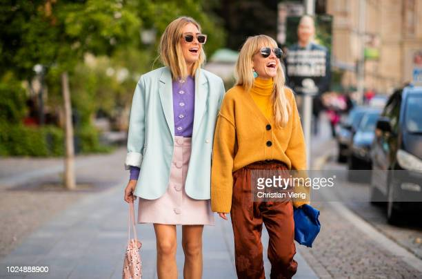 Emili Sindlev and Jeannette Madsen seen during Stockholm Runway SS19 on August 28 2018 in Stockholm Sweden