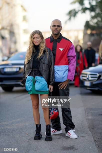 Emili Sindlev and Mads Emil are seen, outside Marni, during Milan Fashion Week Fall/Winter 2020-2021 on February 21, 2020 in Milan, Italy.