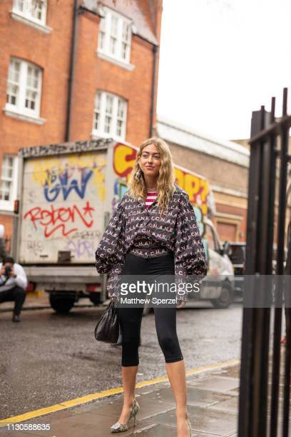 Emili Sindlev is seen on the street during London Fashion Week February 2019 wearing JW Anderson on February 18 2019 in London England