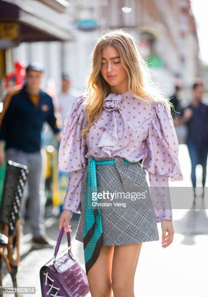 Emili Sindlev is seen outside JW Anderson during London Fashion Week September 2018 on September 15 2018 in London England
