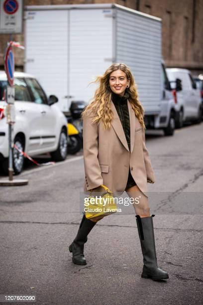 Emili Sindlev is seen outside Max Mara Fashion show during Milan Fashion Week Fall/Winter 20202021 on February 20 2020 in Milan Italy