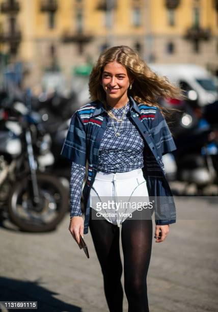 Emili Sindlev is seen outside Sportmax on Day 3 Milan Fashion Week Autumn/Winter 2019/20 on February 22 2019 in Milan Italy