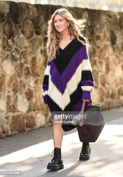 Emili Sindlev is seen wearing Loewe sweater outside the Loewe show during Paris Fashion Week SS20 on September 27 2019 in Paris France