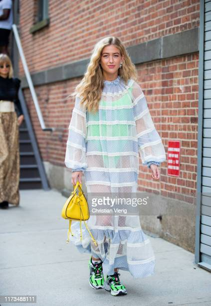 Emili Sindlev is seen wearing sheer dress outside Zimmermann during New York Fashion Week September 2019 on September 09 2019 in New York City