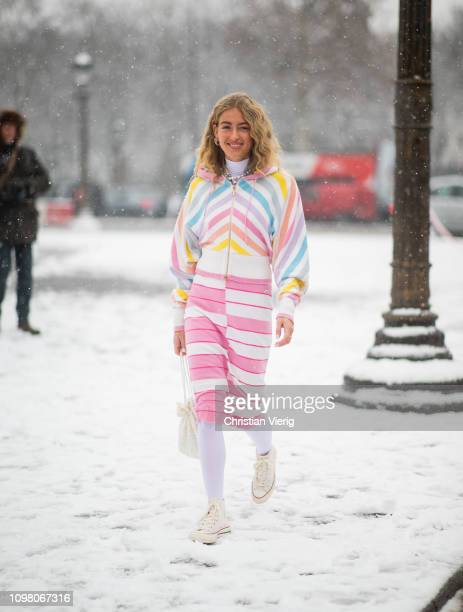 Emili Sindlev is seen wearing striped hoody skirt outside Chanel during Haute Couture Spring Summer 2019 Day Two on January 22 2019 in Paris France