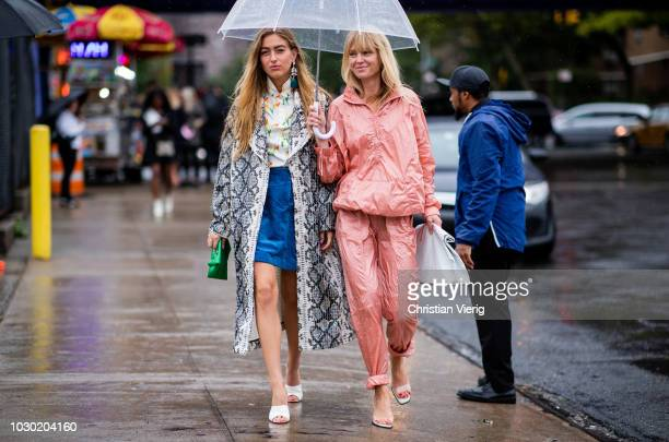 Emili Sindlev Jeannette Madsen seen outside BOSS during New York Fashion Week Spring/Summer 2019 on September 9 2018 in New York City