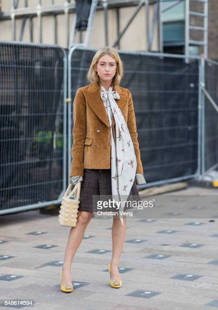 Emili Sindlev outside Versus Versace during London Fashion Week September 2017 on September 17 2017 in London England