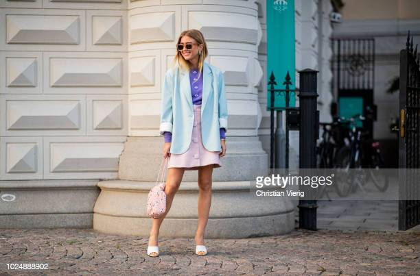 Emili Sindlev wearing pastel colors is seen during Stockholm Runway SS19 on August 28 2018 in Stockholm Sweden