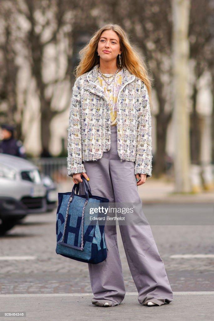 Emili Sindlev Wears A Tweed Chanel Jacket Purple Flare Pants A