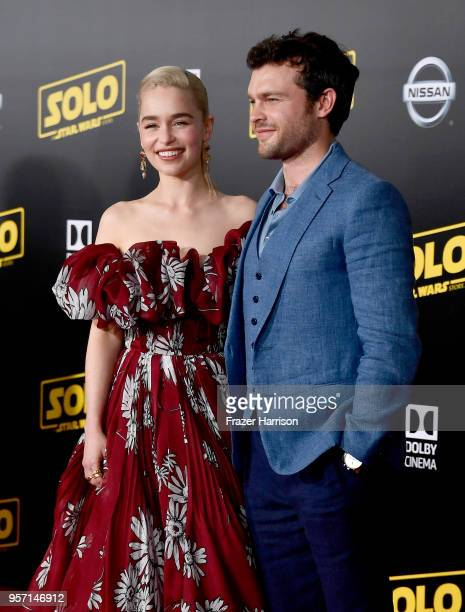 Emilia Clarke and Alden Ehrenreich attend the premiere of Disney Pictures and Lucasfilm's Solo A Star Wars Story at the El Capitan Theatre on May 10...