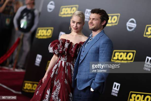 Emilia Clarke and Alden Ehrenreich attend the Premiere of Disney Pictures and Lucasfilm's Solo A Star Wars Story on May 10 2018 in Los Angeles...
