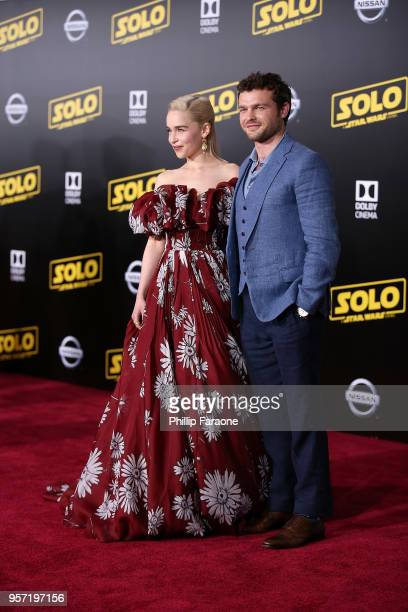 Emilia Clarke and Alden Ehrenreich attend the premiere of Disney Pictures and Lucasfilm's 'Solo A Star Wars Story' on May 10 2018 in Hollywood...