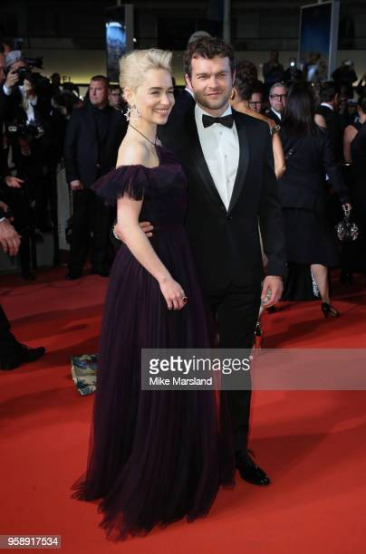 Emilia Clarke and Alden Ehrenreich attend the screening of 'Solo A Star Wars Story' during the 71st annual Cannes Film Festival at Palais des...