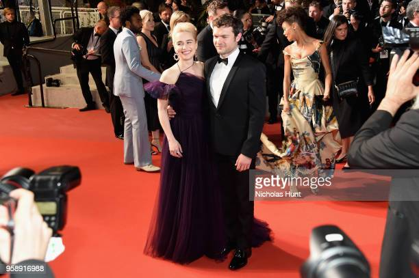 Emilia Clarke and Alden Ehrenreich departs the screening of 'Solo A Star Wars Story' during the 71st annual Cannes Film Festival at Palais des...