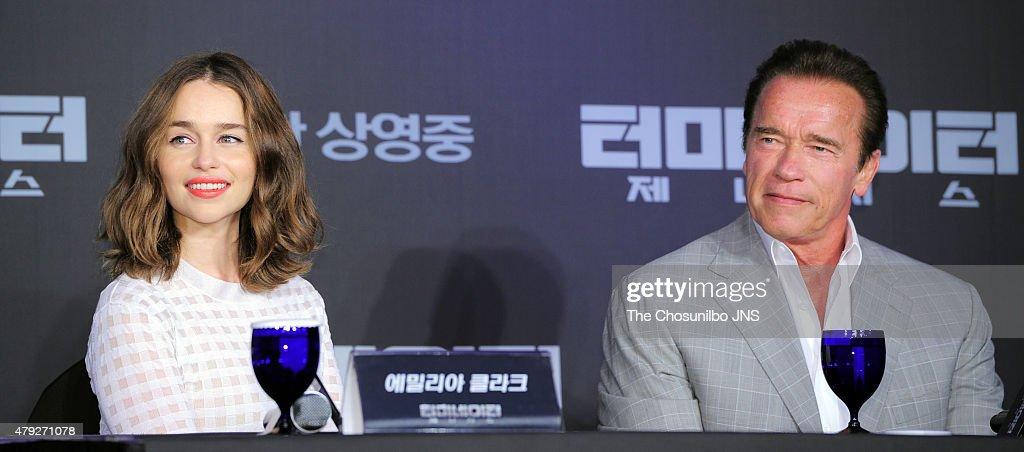 Emilia Clarke and Arnold Schwarzenegger attend the movie ...
