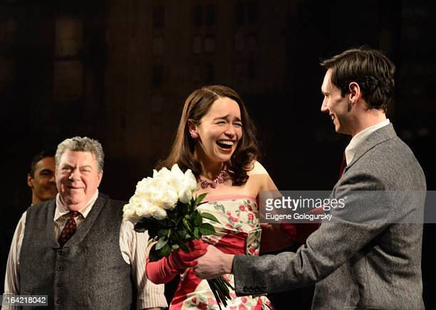Emilia Clarke and Cory Michael Smith attend 'Breakfast At Tiffany's' Broadway Opening Night Curtain Call at Cort Theatre on March 20 2013 in New York...