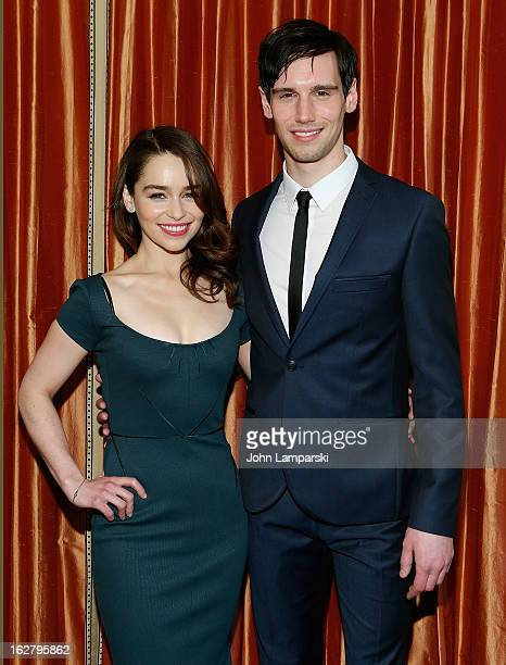 Emilia Clarke and Cory Michael Smith attend the 'Breakfast At Tiffany's' Press Preview at Cafe Carlyle on February 27 2013 in New York City
