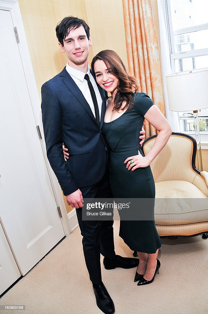 Emilia Clarke and Cory Michael Smith attend the press preview for 'Breakfast At Tiffany's' at The Carlyle Hotel Princess Diana Suite on February 27, 2013 in New York City.