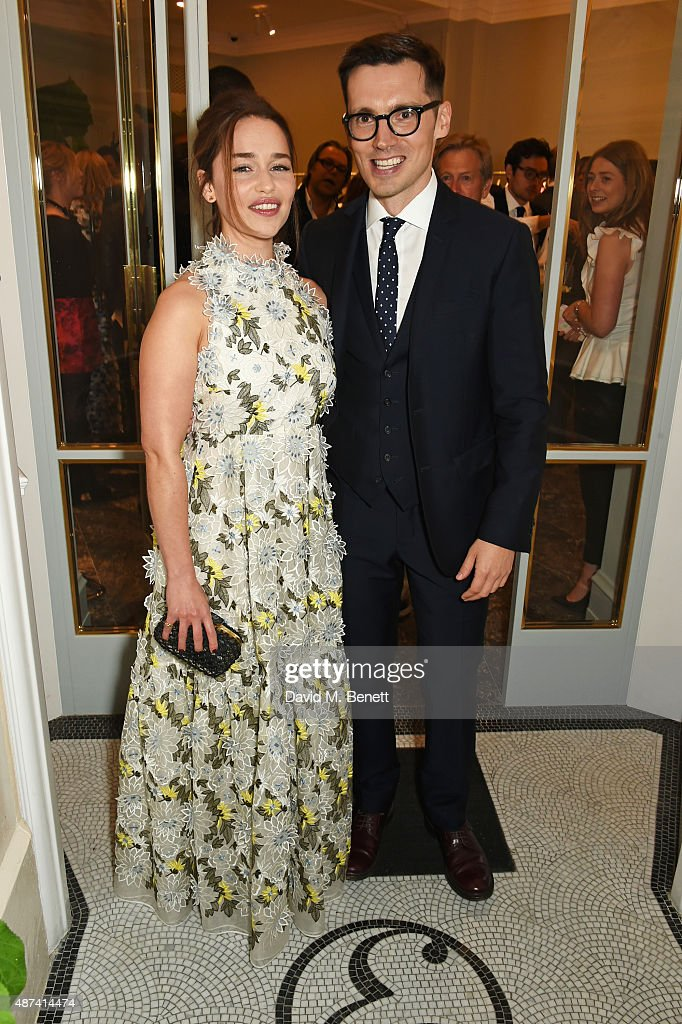 Emilia Clarke (L) and designer Erdem Moralioglu attend the launch of the first Erdem flagship store on September 9, 2015 in London, England.