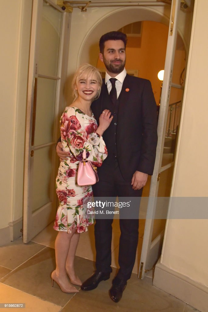 Emilia Clarke (L) and guest attend 'The Centrepoint Awards' to celebrate the courage shown by homeless young people supported by the charity at Kensington Palace on February 8, 2018 in London, England.