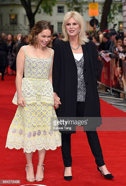 """Emilia Clarke and Joanna Lumley attend the European film premiere """"Me Before You"""" at The Curzon Mayfair on May 25, 2016 in London, England."""