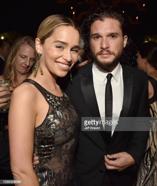 Emilia Clarke and Kit Harington attend HBO's Official 2018 Emmy After Party on September 17 2018 in Los Angeles California