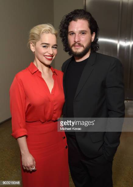 Emilia Clarke and Kit Harington attend the 7th Annual Sean Penn Friends HAITI RISING Gala benefiting J/P Haitian Relief Organization on January 6...