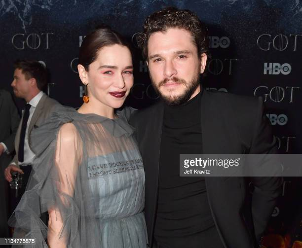 Emilia Clarke and Kit Harington attend the Game Of Thrones Season 8 NY Premiere After Party on April 3 2019 in New York City