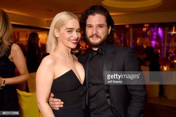 Emilia Clarke and Kit Harington of 'Game of Thrones' attends HBO's Official 2018 Golden Globe Awards After Party on January 7 2018 in Los Angeles...