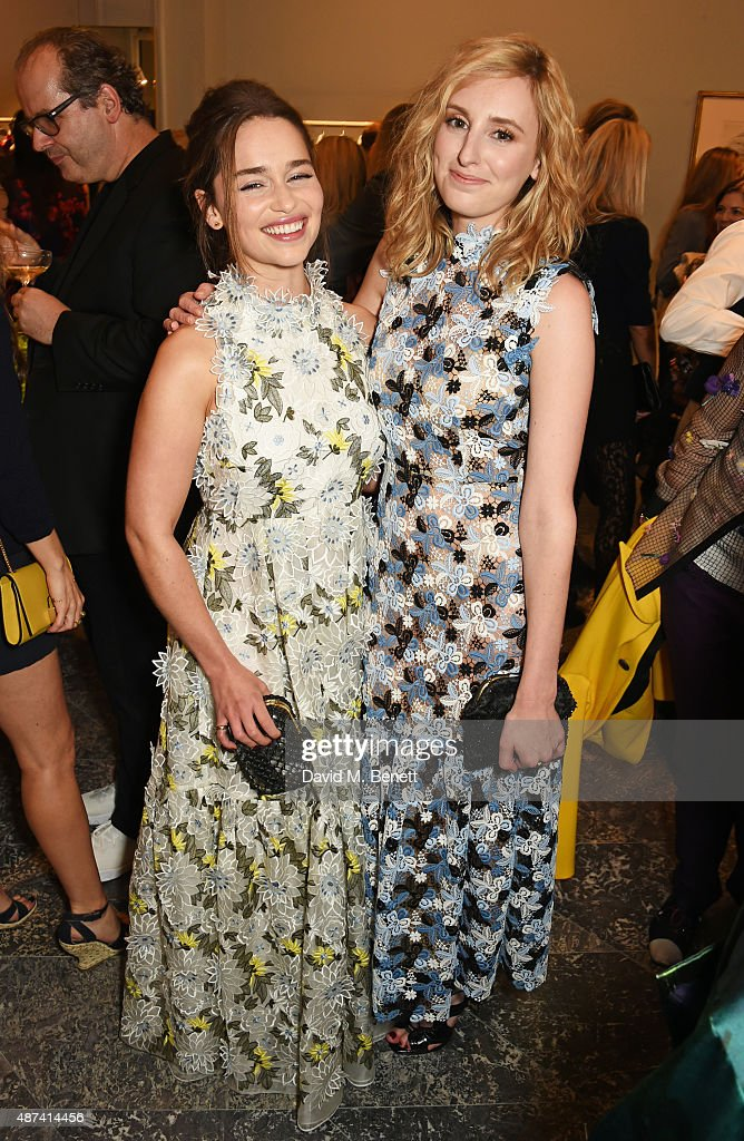 Emilia Clarke (L) and Laura Carmichael attend the launch of the first Erdem flagship store on September 9, 2015 in London, England.