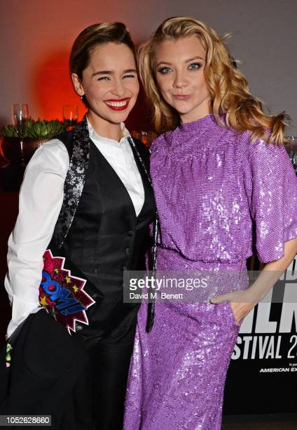 Emilia Clarke and Natalie Dormer attend the Persol BFI London Film Festival Awards Party at The Unit Gallery on October 20 2018 in London England
