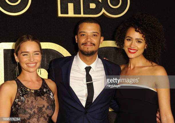 Emilia Clarke and Nathalie Emmanuel arrive at HBO's Official 2018 Emmy After Party on September 17 2018 in Los Angeles California