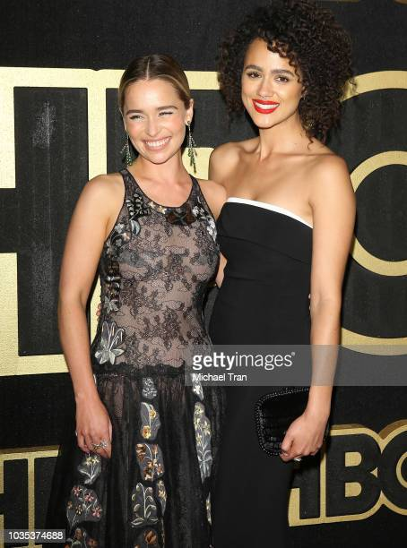 Emilia Clarke and Nathalie Emmanuel attend HBO's Post Emmy Awards reception held at The Plaza at the Pacific Design Center on September 17 2018 in...