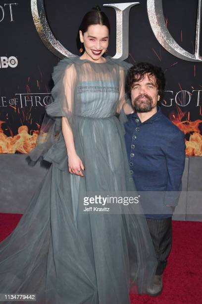 Emilia Clarke and Peter Dinklage attend the Game Of Thrones Season 8 NY Premiere on April 3 2019 in New York City