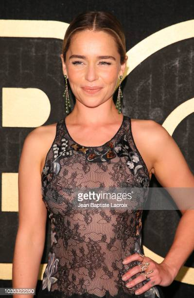Emilia Clarke arrives at HBO's Official 2018 Emmy After Party on September 17 2018 in Los Angeles California