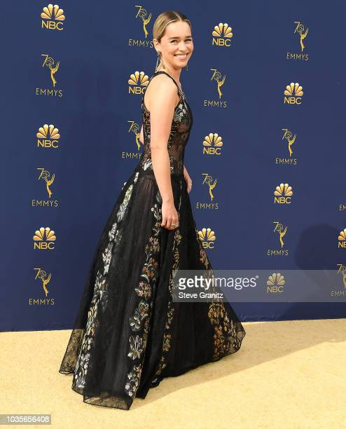 Emilia Clarke arrives at the 70th Emmy Awards on September 17 2018 in Los Angeles California
