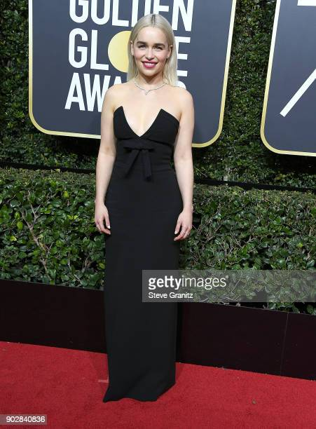 Emilia Clarke arrives at the 75th Annual Golden Globe Awards at The Beverly Hilton Hotel on January 7 2018 in Beverly Hills California