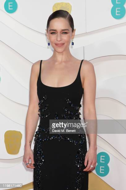 Emilia Clarke arrives at the EE British Academy Film Awards 2020 at Royal Albert Hall on February 2, 2020 in London, England.