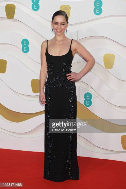 Emilia Clarke arrives at the EE British Academy Film Awards 2020 at Royal Albert Hall on February 2 2020 in London England