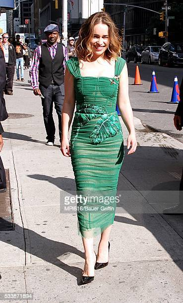 Emilia Clarke arrives at The Late Show with Stephen Colbert on May 23 2016 in New York City