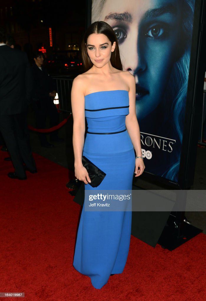 Emilia Clarke arrives to HBO's 'Game Of Thrones' Los Angeles Premiere at TCL Chinese Theatre on March 18, 2013 in Hollywood, California.
