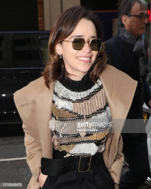 Emilia Clarke arriving at BBC Radio 2 on March 03 2020 in London England
