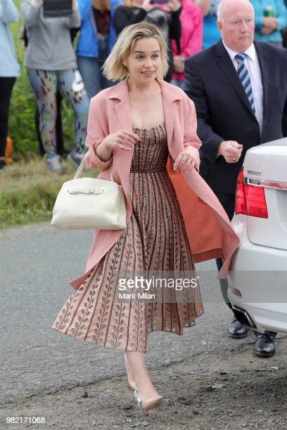 Emilia Clarke arriving at Rayne Church in Kirkton on Rayne for the wedding of Kit Harrington and Rose Leslie on June 23 2018 in Aberdeen Scotland