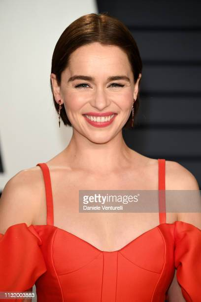 Emilia Clarke attends 2019 Vanity Fair Oscar Party Hosted By Radhika Jones Arrivals at Wallis Annenberg Center for the Performing Arts on February 24...