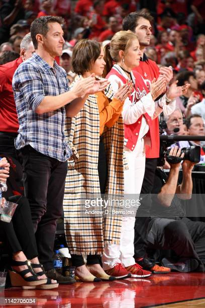 Emilia Clarke attends Game Six of the Western Conference Semifinals between the Golden State Warriors and the Houston Rockets during the 2019 NBA...