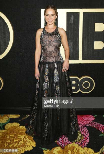 Emilia Clarke attends HBO's Post Emmy Awards reception held at The Plaza at the Pacific Design Center on September 17 2018 in Los Angeles California