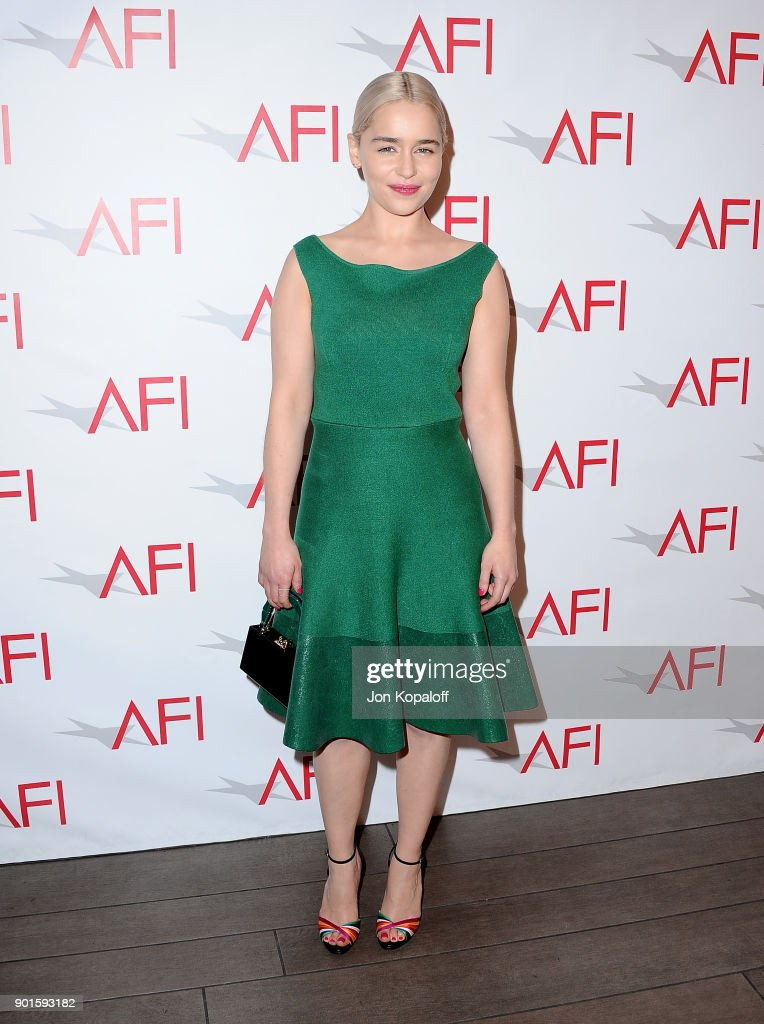 Emilia Clarke attends the 18th Annual AFI Awards at Four Seasons Hotel Los Angeles at Beverly Hills on January 5, 2018 in Los Angeles, California.