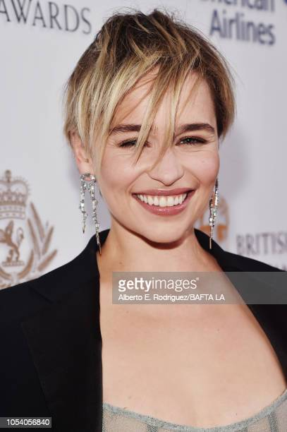 Emilia Clarke attends the 2018 British Academy Britannia Awards presented byJaguar Land Rover and American Airlines at The Beverly Hilton Hotel on...